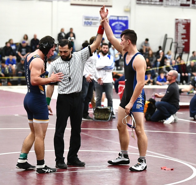 1/4/2020 Mike Orazzi | Staff Bristol Eastern's Tyler Gleifert and Ledyard's John Isgro during a 170 match during Saturday's wrestling tournament at Bristol Central High School.