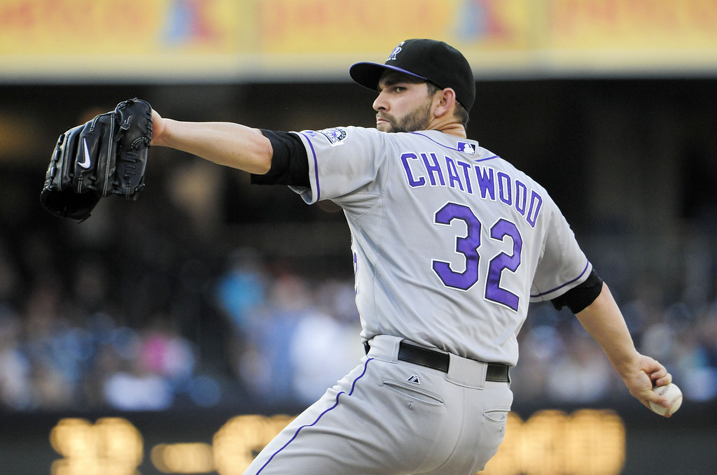 . SAN DIEGO, CA - SEPTEMBER 7:  Tyler Chatwood #32 of the Colorado Rockies pitches during the first inning of a baseball game against the San Diego Padres at Petco Park on September 7, 2013 in San Diego, California.  (Photo by Denis Poroy/Getty Images)
