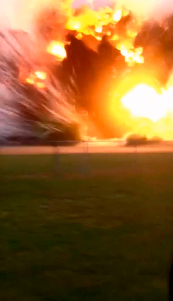 Description of . An explosion at the West Fertilizer Co. plant in West, Texas, is pictured in this still image obtained from a April 17, 2013 amateur video obtained by NBC. The explosion at the plant on the evening of April 17 injured more than 160 people, and prompted the evacuation of half the town.  REUTERS/NBC/KWKT/KETK/Handout
