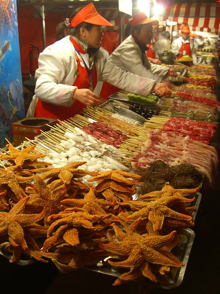 Beijing Street Food, Grilled Starfish - Beijing, China