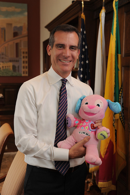 . One of the perks of being Mayor is that Garcetti can have his children visit him in his office, where his daughter Maya left a stuffed animal. Photographed in his office at City Hall, Los Angeles Mayor Eric Garcetti is on the eve of his first 100 days in office. Los Angeles, CA. 10/03/2013. photo by (John McCoy/Los Angeles Daily News)