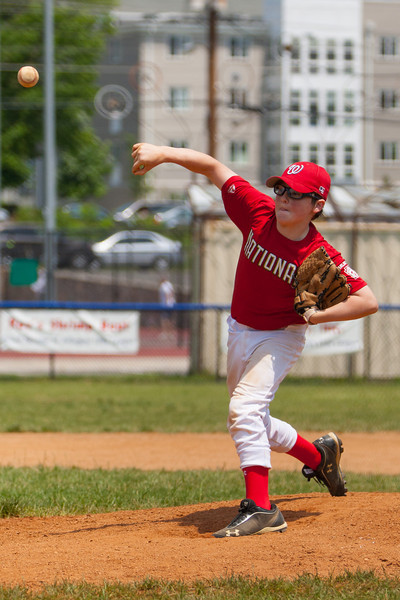 Christopher pitching in the bottom of the 5th inning. The bats of the Nationals were supported by a great defensive outing in a 11-4 win over the Twins. They are now 7-3 for the season. 2012 Arlington Little League Baseball, Majors Division. Nationals vs Twins (13 May 2012) (Image taken by Patrick R. Kane on 13 May 2012 with Canon EOS-1D Mark III at ISO 400, f4.0, 1/4000 sec and 145mm)