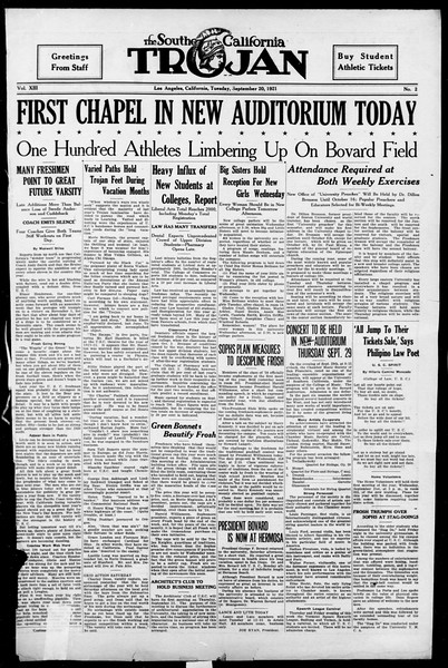 The Southern California Trojan, Vol. 13, No. 2, September 20, 1921