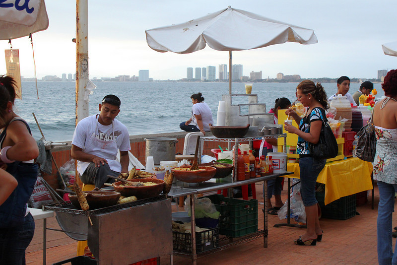 Food vendors on the malecon boardwalk in downtown Puerta Vallarta.