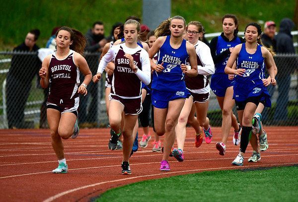 5/14/2019 Mike Orazzi | Staff The girls 1600 meter race at Bristol Eastern on Tuesday.
