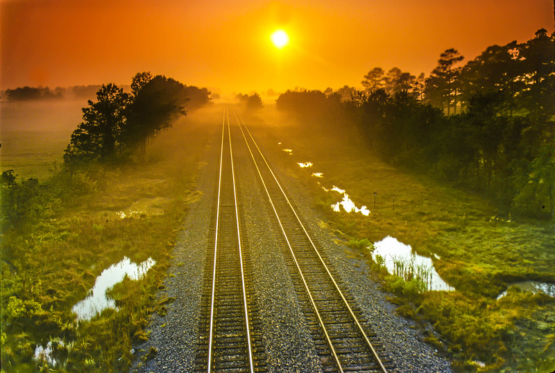 Midwest Railroad Tracks at Dawn
