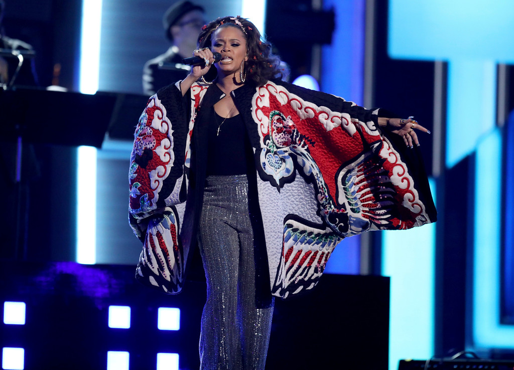 . Andra Day performs a tribute to the Bee Gees at the 59th annual Grammy Awards on Sunday, Feb. 12, 2017, in Los Angeles. (Photo by Matt Sayles/Invision/AP)