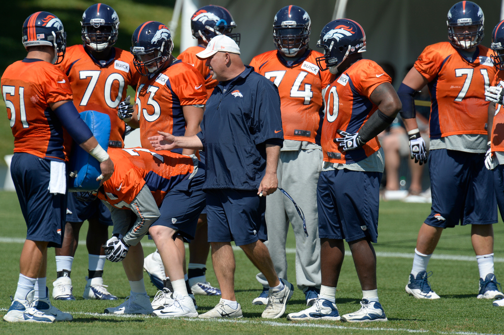 . Denver Broncos offensive line coach Dave Magazu with the offensive line during practice August 19, 2013 at Dove Valley (Photo by John Leyba/The Denver Post)