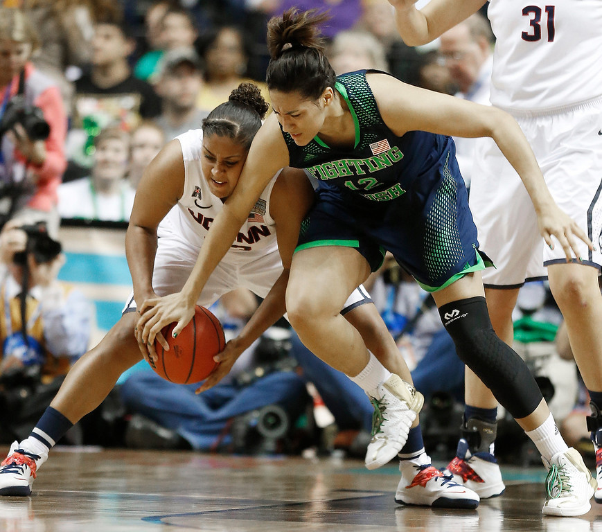 . Connecticut forward Kaleena Mosqueda-Lewis (23) works against Notre Dame forward Taya Reimer (12) during the second half of the championship game in the Final Four of the NCAA women\'s college basketball tournament, Tuesday, April 8, 2014, in Nashville, Tenn. (AP Photo/John Bazemore)