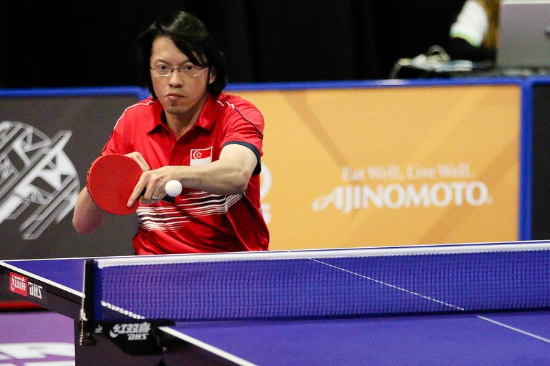 PARA TABLE TENNIS -  CHUA HSIANG LIM DARREN  in action & representing Singapore in Men Individual Class 2 Round-Robin at MITEC Hall 7, KL on September 22th, 2017 (Photo by Sanketa Anand)