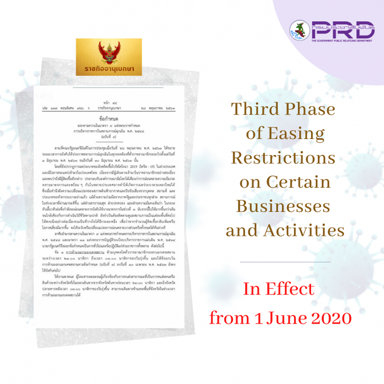 Third Phase of Easing Restrictions regulation document by Thai government Certain Businesses and Activities