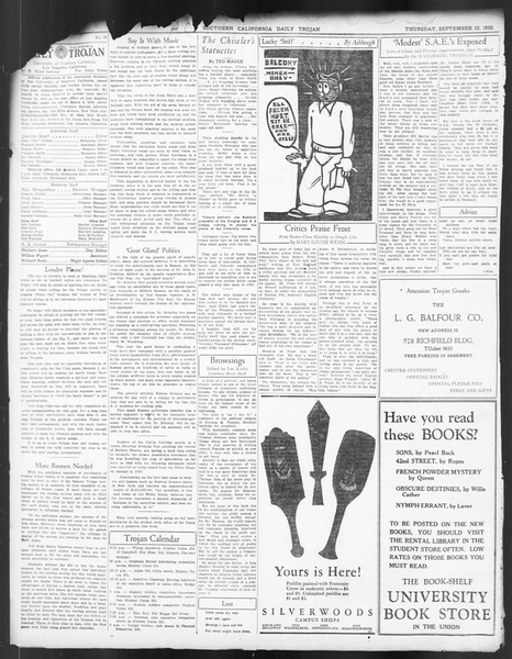 Daily Trojan, Vol. 24, No. 10, September 22, 1932