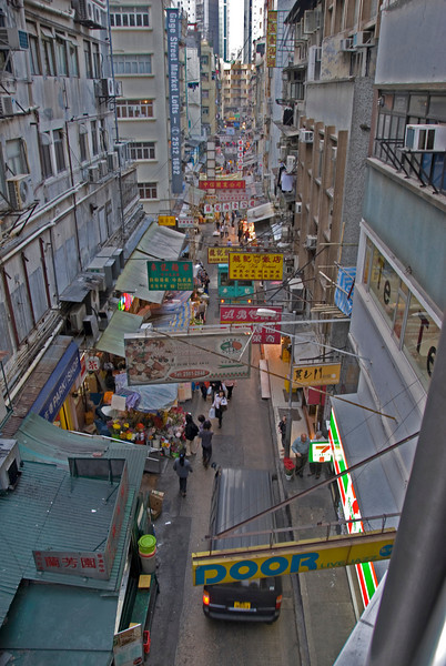 Looking down on the busy streets near Chungking Mansions in Hong Kong