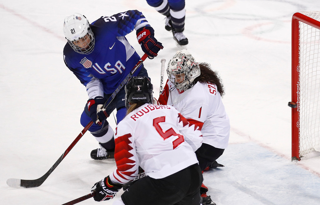 . Hilary Knight (21), of the United States, shoots the puck past goalie Shannon Szabados (1), of Canada, for a goal during the first period of the women\'s gold medal hockey game at the 2018 Winter Olympics in Gangneung, South Korea, Thursday, Feb. 22, 2018. (AP Photo/Jae C. Hong)