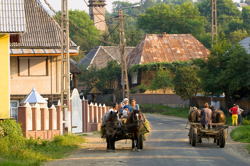 Rural transport and village scene, Budesti, Maramures, Romania