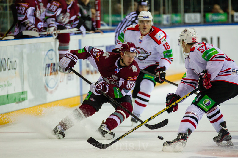 Gints Meija (87) during KHL regular championship game between Dinamo Riga and Donbass Donetsk in Arena Riga