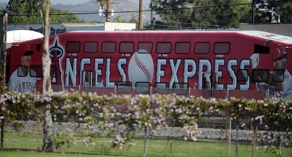 . A metro link train with an Angels advertisement passes by during a prep baseball game between Baldwin Park and Northview at Northview High School on Tuesday, April 23, 2012 in Covina, Calif. Northview won 8-2.    (Keith Birmingham/Pasadena Star-News)