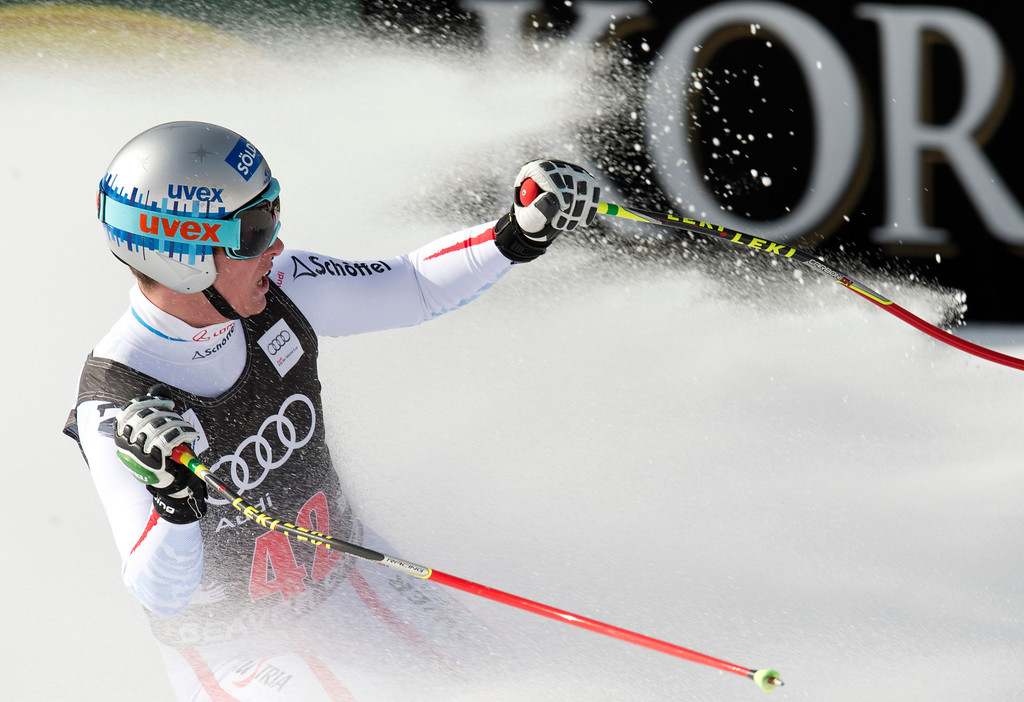 . Florian Scheiber of Asutria reacts as he skis to the finish to take fourth in the FIS Alpine World Cup Men\'s Downhill on November 30, 2012 in Beaver Creek, Colorado.     DON EMMERT/AFP/Getty Images