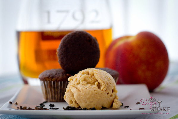 The smoky cupcakes paired nicely with homemade Bourbon-Rum Peach Ice cream. © 2012 Sugar + Shake