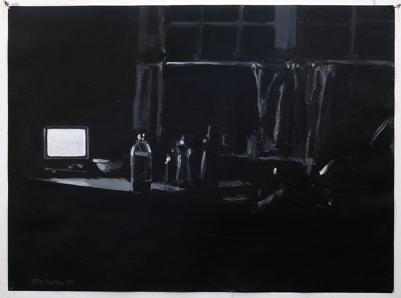 Night Kitchen (b/w); acrylic on paper, 22 x 30 in, 1990