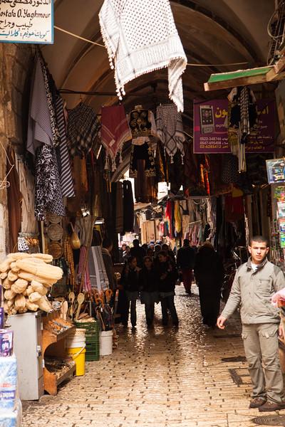 Entering the souk in the Arab quarter of the old  city of Jerusalem