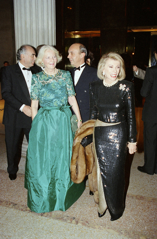 . Comedian Joan Rivers, right, and socialite C.Z. Guest arrive at the Metropolitan Museum of Art in New York , Dec. 10, 1991 for the annual Costume Institute Gala Benefit. (AP Photo/Mark Phillips)