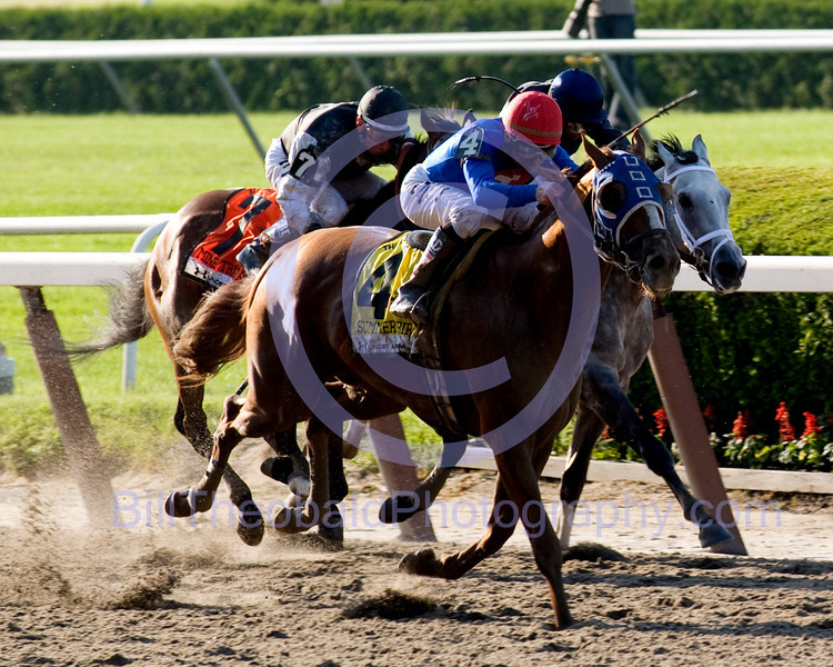 Summer Bird cruises past Mine That Bird and Dunkirk in the late stages of the Belmont Stakes.