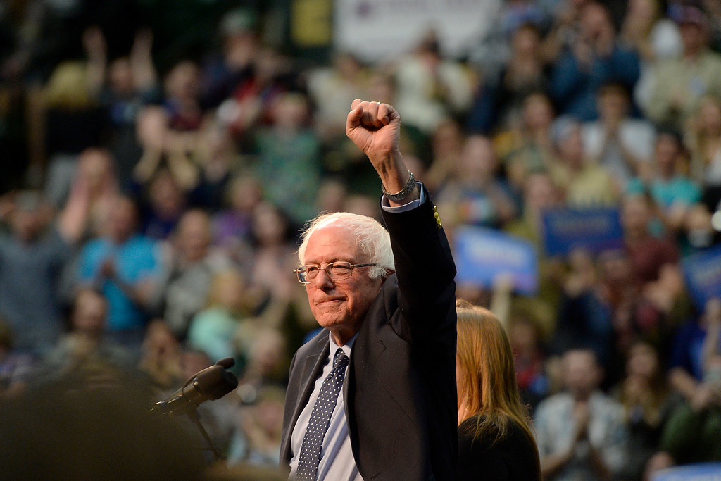 . FORT COLLINS, CO - FEBRUARY 28: Bernie Sanders raises a fist and marches around after speaking during a rally at Colorado State University\'s Moby Arena on Sunday, February 28, 2016. (Photo by AAron Ontiveroz/The Denver Post)