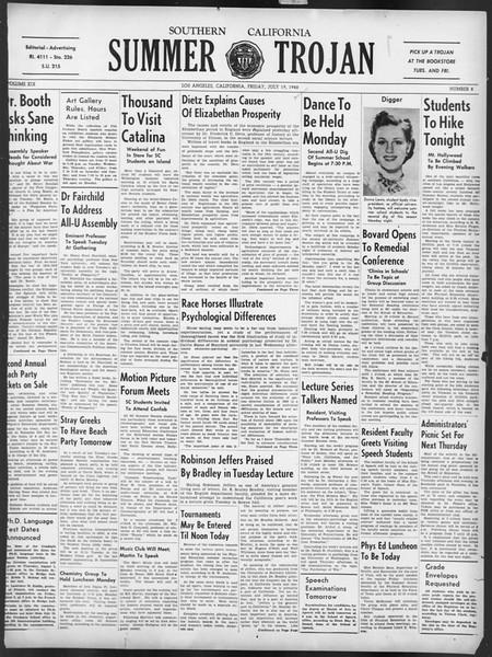 Summer Trojan, Vol. 19, No. 8, July 19, 1940