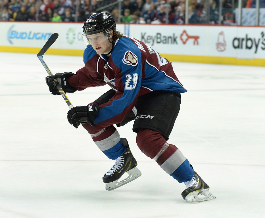 . Colorado center Nathan MacKinnon skated in the third period.  The St. Louis Blues defeated the Colorado Avalanche 2-1 at the Pepsi Center Saturday afternoon, March 8, 2014 in Denver, Colorado. (Photo by Karl Gehring/The Denver Post)