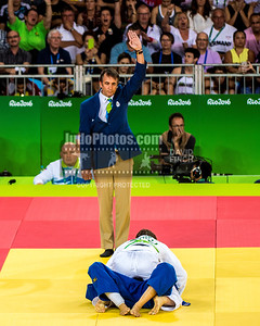 RIO DE JANEIRO, BRAZIL, AUGUST 09:  Referee, Manuel Cortes of Spain signals an ippon (10 points) as world and European champion, Tina Trstenjak of Slovenia holds Mariana Silva 22-02-1990 Brazil to reach the u63kg (light-middleweight) final that she won with ease during day 4 of the 2016 Rio Olympic Judo on Tuesday, August 09 at the Carioca Arenas, Barra, Rio de Janeiro, Brazil. (Photo © by David Finch. All rights reserved. Including image always credited to David Finch)Tina Trstenjak;Mariana Silva