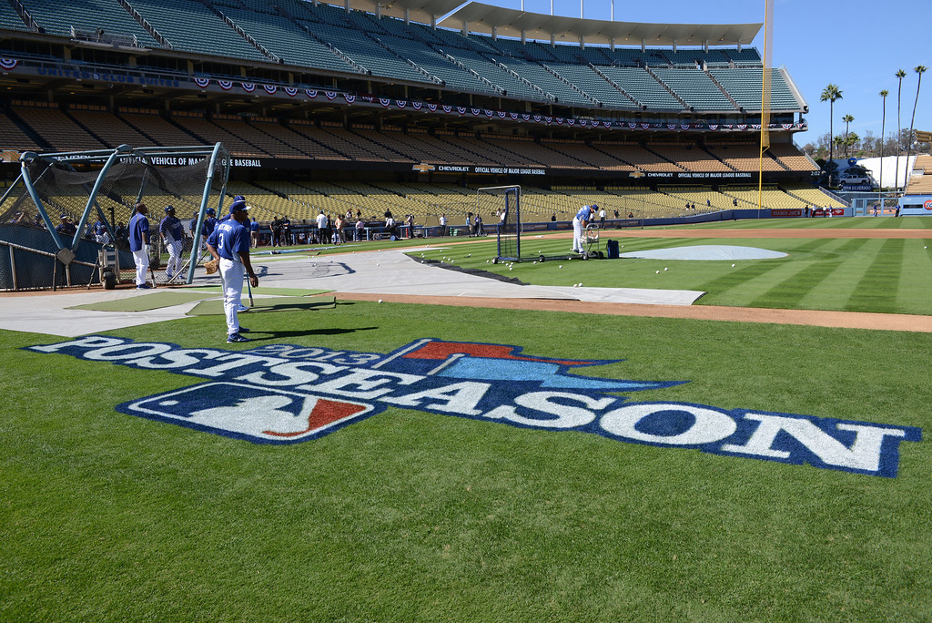 . Dodgers warm up at Dodger Stadium Sunday, October 6, 2013. (Photo by David Crane/Los Angeles Daily News)