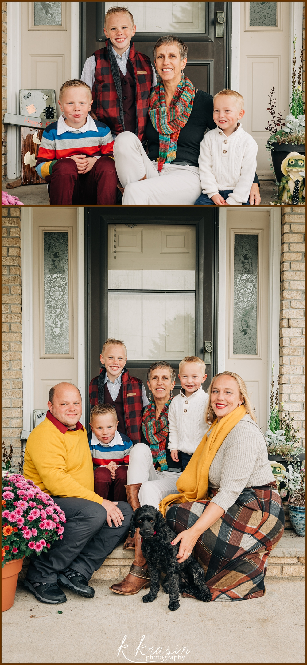 Collage of photos of family in front of house