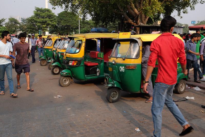 Tuk-tuk's for hire in the bazaar near Delhi's Central Park