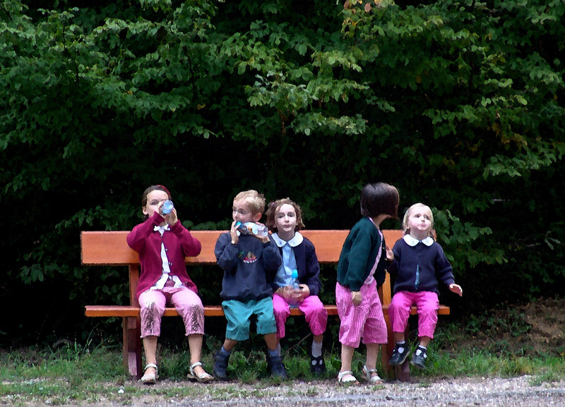 Children rest at the Reims Mountain Regional Nature Park, France  Watercolor
