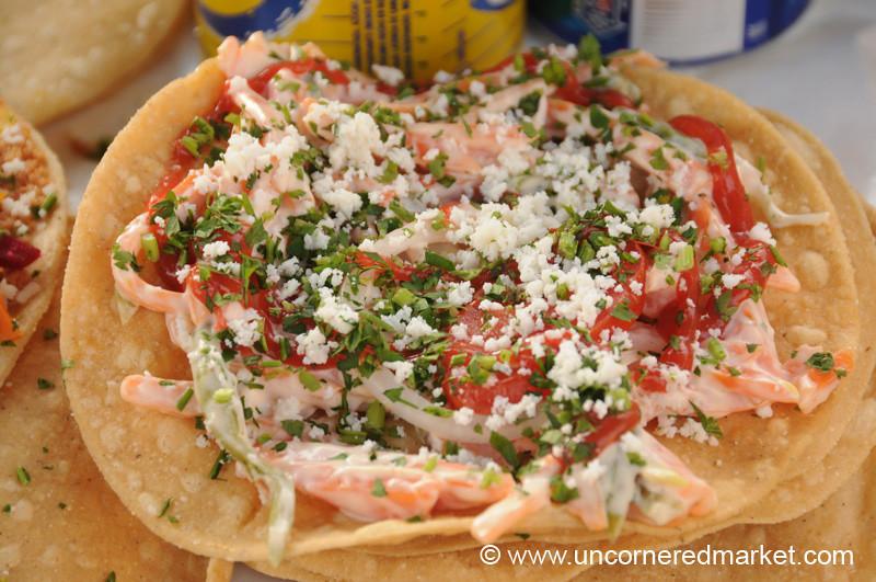 Guatemalan Food, Tostada - Xela, Guatemala