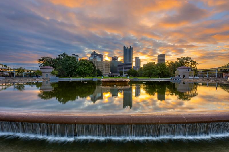 Fountain Reflection Pittsburgh Skyline Point Park.jpg