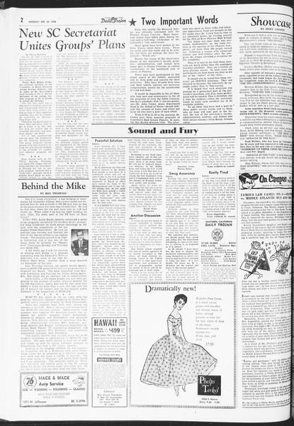 Daily Trojan, Vol. 47, No. 78, February 20, 1956