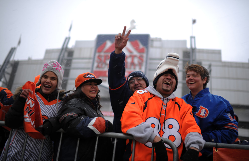 . Javier Gaytan (88) and Denver Broncos fans are in the United in Orange Pep Rally at Sports Authority Field at Mile High in Denver on Friday. Denver. CO, January 11, 2013.  Hyoung Chang, The Denver Post