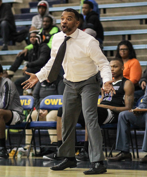 January 23, 2019: Montgomery coach Keith Byrd reacts to a call during JUCO mens basketball action between Montgomery Community College and Prince George's Community College in Largo. Photo by: Chris Thompkins/Prince Georges Sentinel