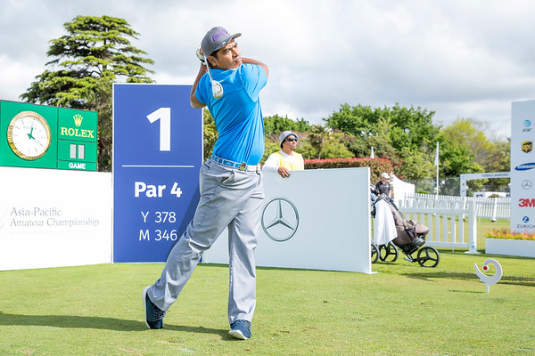 Robert Faaaliga from Samoa hitting off the 1st tee on Day 1 of competition in the Asia-Pacific Amateur Championship tournament 2017 held at Royal Wellington Golf Club, in Heretaunga, Upper Hutt, New Zealand from 26 - 29 October 2017. Copyright John Mathews 2017.   www.megasportmedia.co.nz