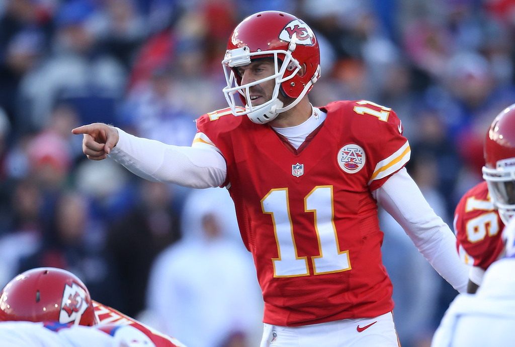 . Alex Smith #11 of the Kansas City Chiefs calls an audible during NFL game action against the Buffalo Bills at Ralph Wilson Stadium on November 3, 2013 in Orchard Park, New York. (Photo by Tom Szczerbowski/Getty Images)