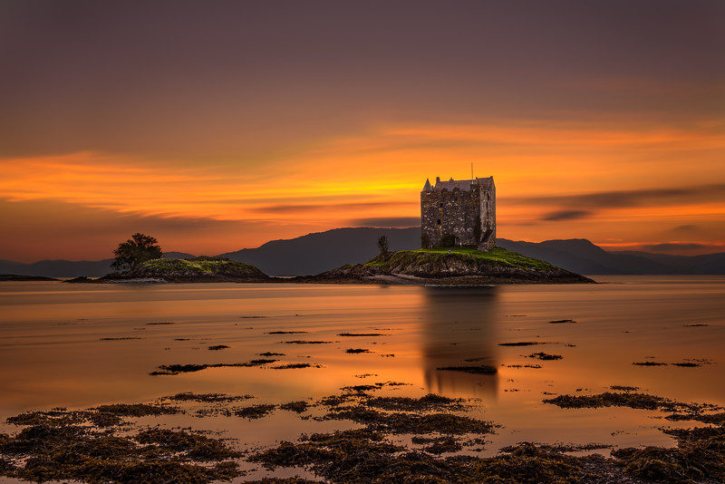 Sunset over Castle Stalker,  Scotland, United Kingdom