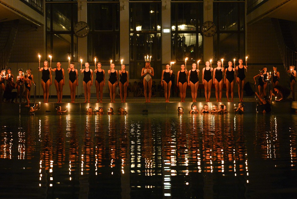 . Children and teenagers from the Neptun synchronised swimming club perform during a Saint Lucia concert at the Forsgrenska pool on December 12, 2014 in Stockholm.JONATHAN NACKSTRAND/AFP/Getty Images