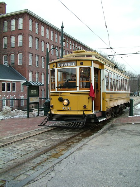 Trolley #4131 making a stop at Boott Mills - Lowell, MA
