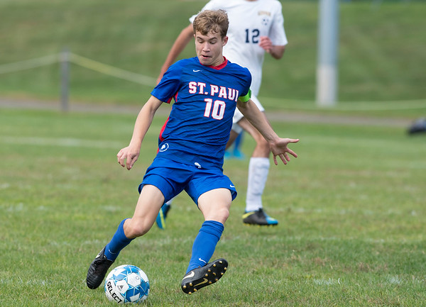 09/30/19 Wesley Bunnell | StaffrrSt. Paul boys soccer defeated Kennedy in a home game on Monday afternoon. Luke Hines (10).