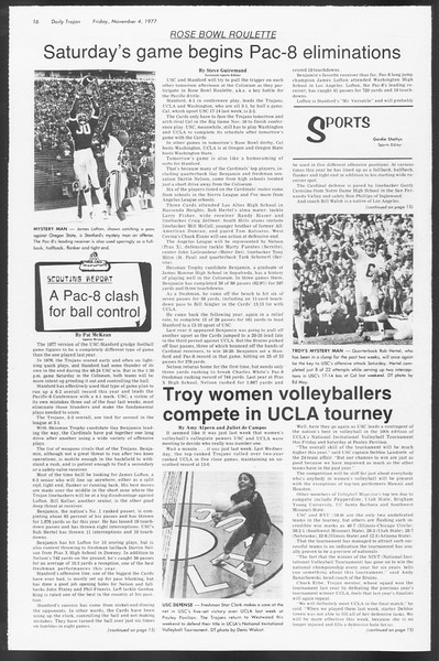 Daily Trojan, Vol. 72, No. 33, November 04, 1977