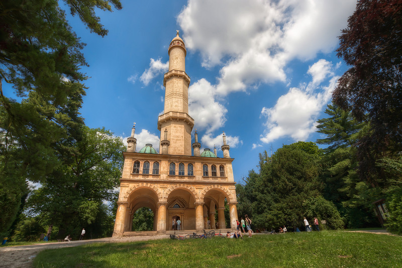 Minaret in Lednice  This minaret is standing in the beautiful park next to the Chateau in Lednice, Czech republic. It a really nice place to take a walk and relax :). The 302 stairs I had to take to get to the top of it weren't so relaxing, but the view is really worth it (there will be a photo, don't worry :) )  HDR from three shots, taken with Canon 450D with Sigma 10-20mm lens, from  a tripod.