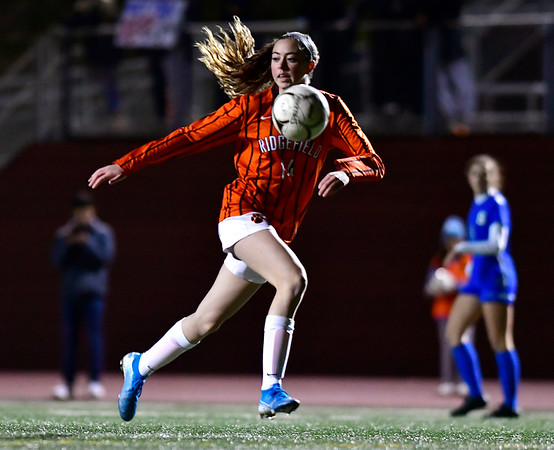 11/19/2019 Mike Orazzi | StaffrRidgefield High School's Grace Michalowski r(14) during the Class LL Semifinal Girls Soccer match with Southington at Naugatuck High School Tuesday night. Southington advanced to the final 1-0.