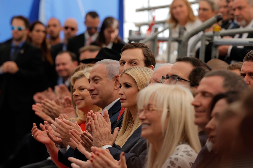 . Israel\'s Prime Minister Benjamin Netanyahu, 2nd left, his wife Sara Netanyahu, left, Senior White House Advisor Jared Kushner, 3rd left, U.S. President\'s daughter Ivanka Trump, center, U.S. Treasury Secretary Steve Mnuchin, attend the opening ceremony of the new U.S. embassy in Jerusalem, Monday, May 14, 2018. (AP Photo/Sebastian Scheiner)